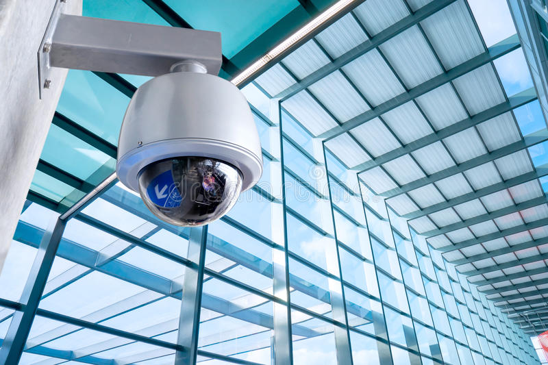 Security Camera Cctv On Business Office Building Stock