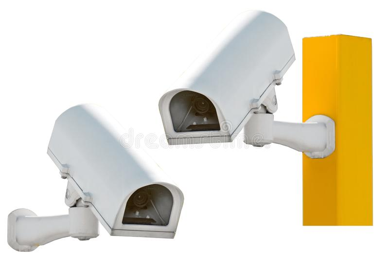Security Camera or CCTV isolate on white background, on a pillar, and separately. stock photo