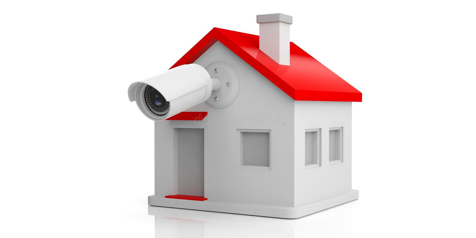 Security Camera On House. Isolated 3D Stock Illustration