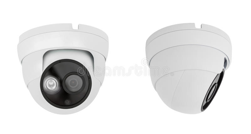 Security camera ceiling type isolated on white background with c stock image