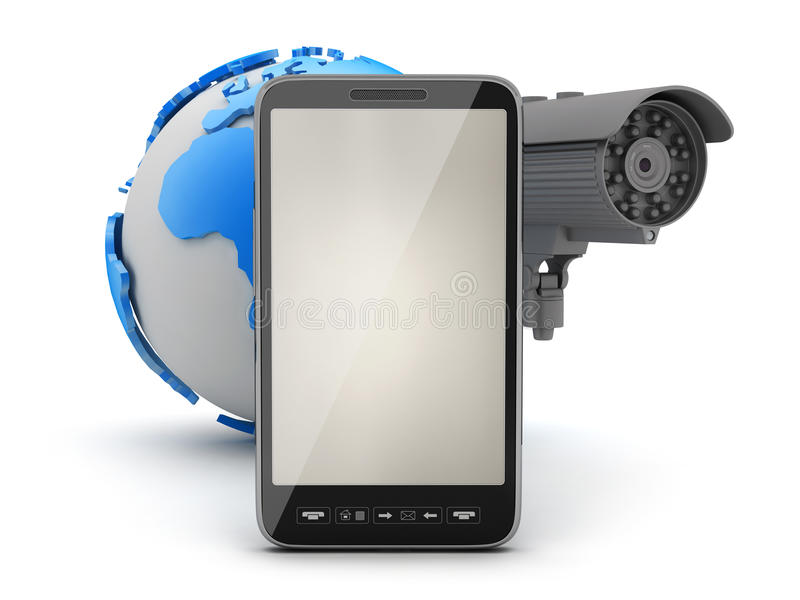 Security camera, cell phone and earth globe. On white background vector illustration