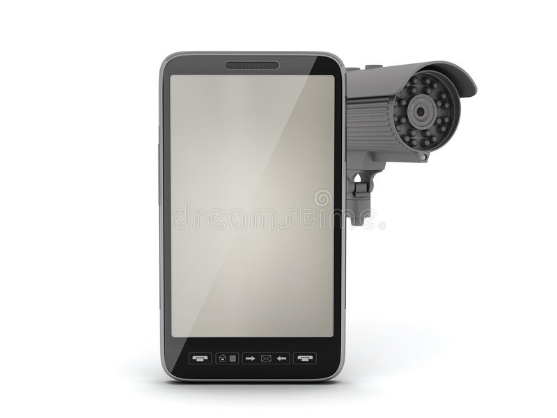 Security camera and cell phone. Isolated on white background royalty free illustration