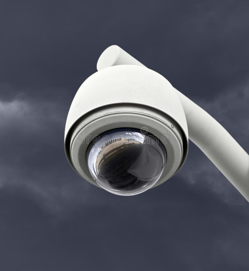 Security Camera with Dark Thunderstorm Sky stock photography