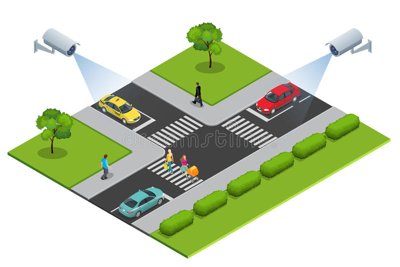 Security camera detects the movement of traffic. CCTV security camera on isometric of traffic jam with rush hour. Security camera detects the movement of traffic vector illustration