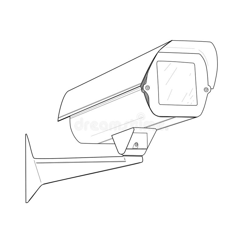 Stock Illustration Security Camera Drawing Vector Illustration Image74800762 on cctv camera drawing