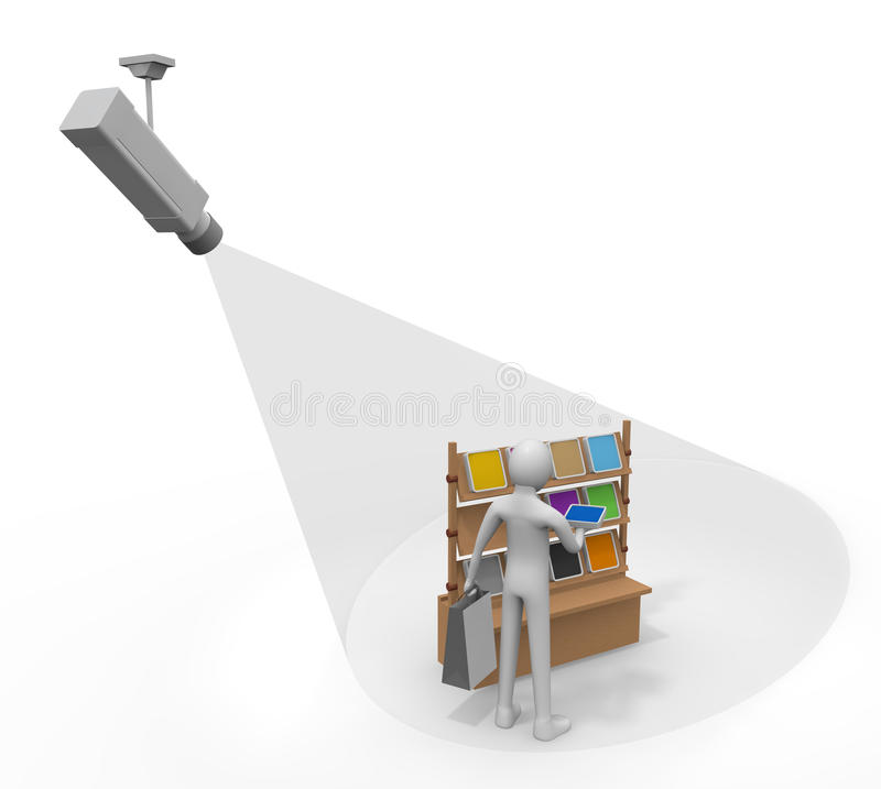 Security camera. I see whether an item is not stolen. I prevent the theft in the security camera. Suspicious person. I strengthen the security surveillance stock illustration