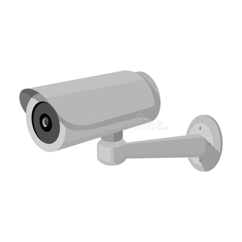 Security camera icon in monochrome style isolated on white background. Parking zone symbol stock vector illustration. Security camera icon in monochrome design stock illustration
