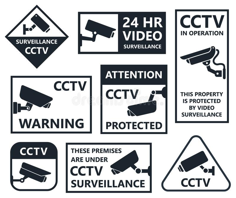 Security camera icons, cctv symbols. Security camera sticker, video surveillance symbols, cctv icons vector illustration