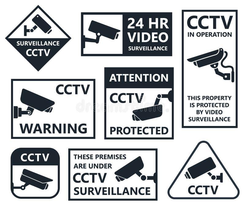 Security camera icons, cctv symbols vector illustration
