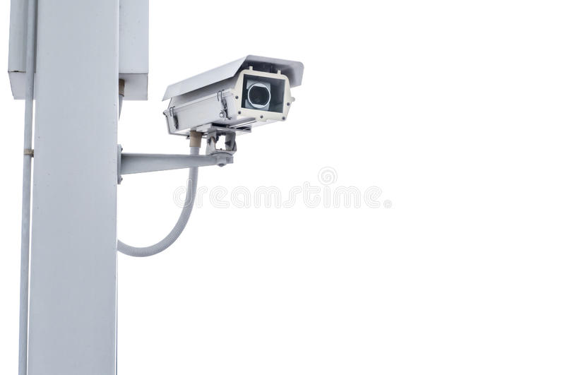 Security camera isolated on white royalty free stock image