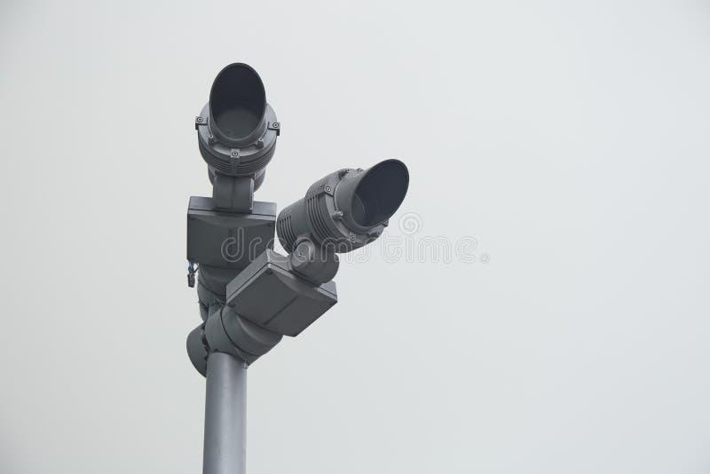 Security camera pole stock photography