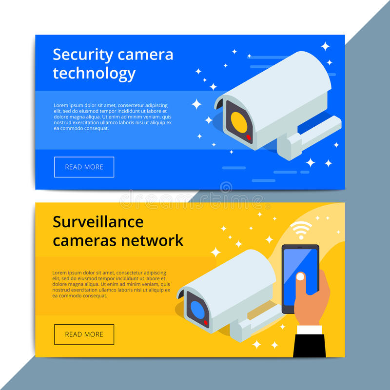 Security camera promo web banner ad. Video surveillance equipment promotion advertisement layout. CCTV device with wireless stock illustration