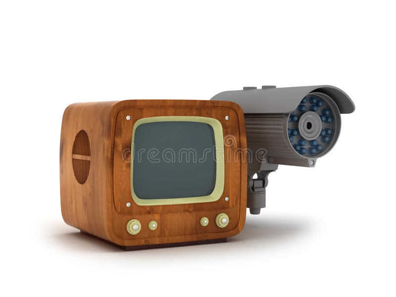 Security camera and retro tv. On white background vector illustration