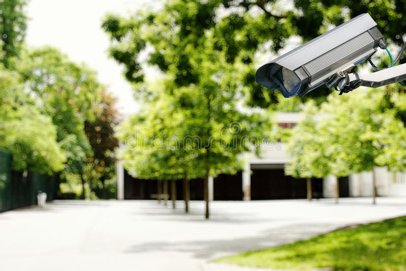 Security camera and safety in a school royalty free stock image