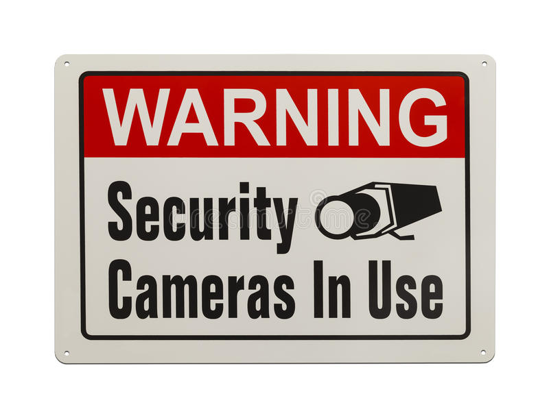 Security Camera Sign. Red, Black and White, Warning Security Camera Sign Isolated on White Background royalty free stock images