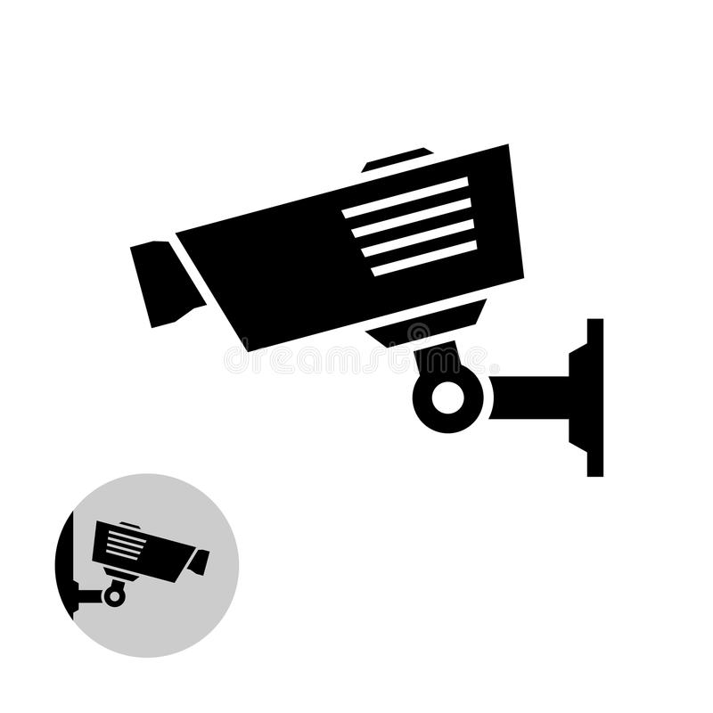 Security camera simple black icon on the wall. vector illustration