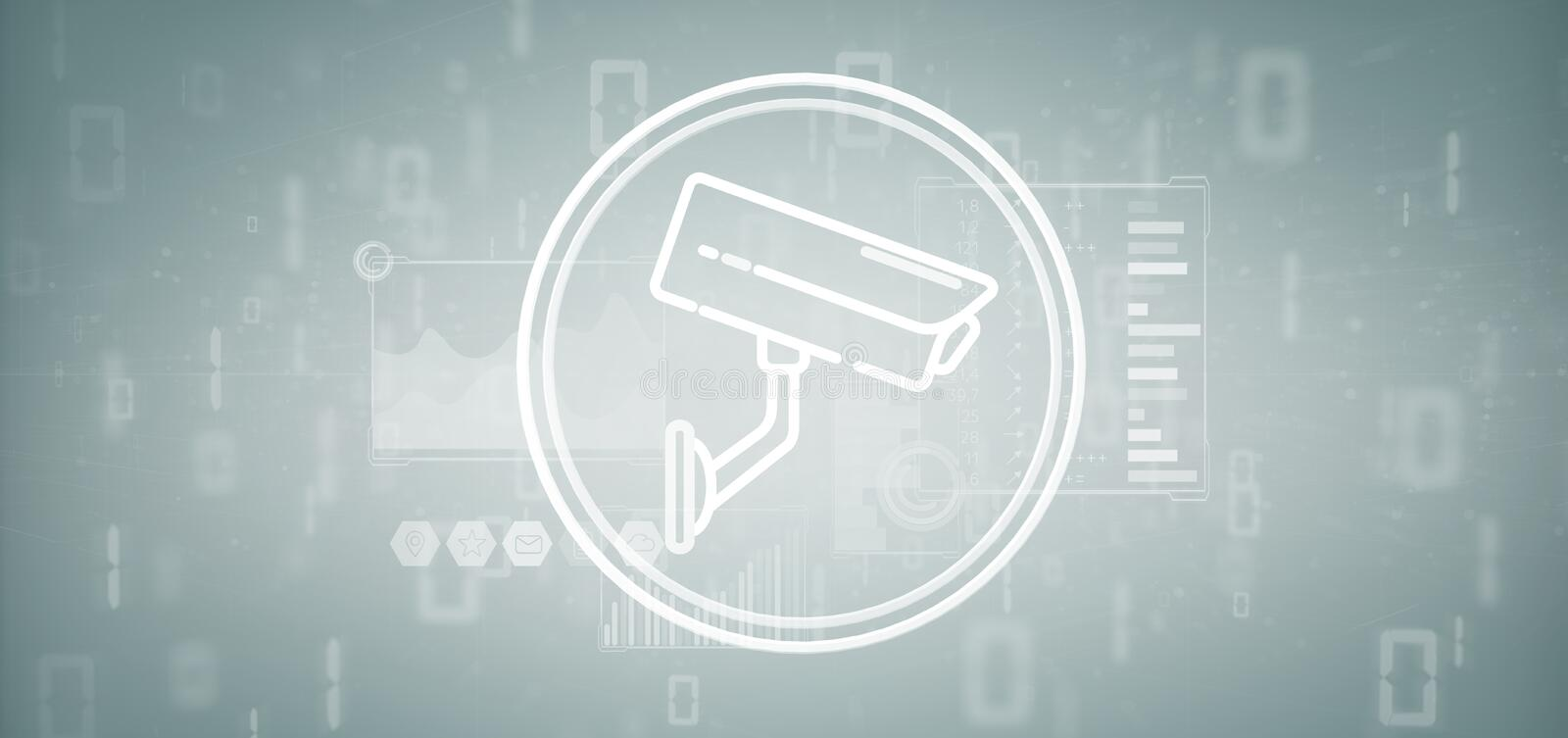 Security camera system icon and statistics data - 3d rendering vector illustration
