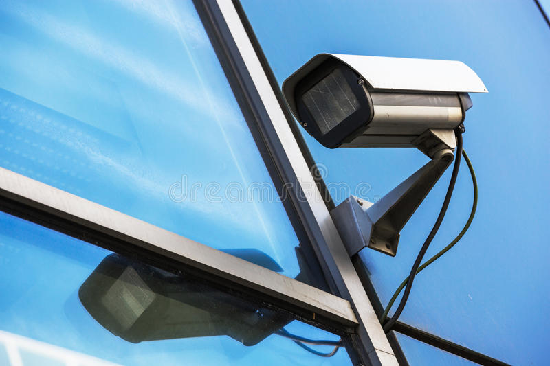 Security camera and urban video. Closeup on security camera on urban video stock photos