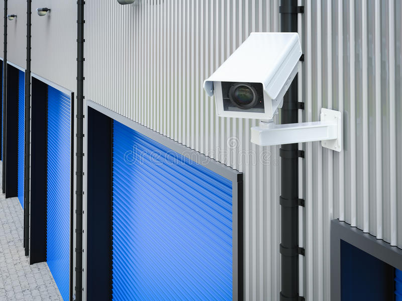 Security camera in warehouse royalty free illustration
