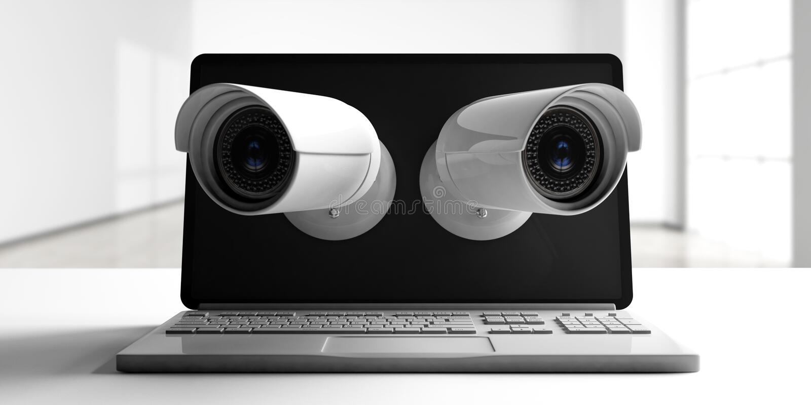 Security Cameras CCTV on a computer laptop screen screen, blur empty room background. 3d illustration vector illustration