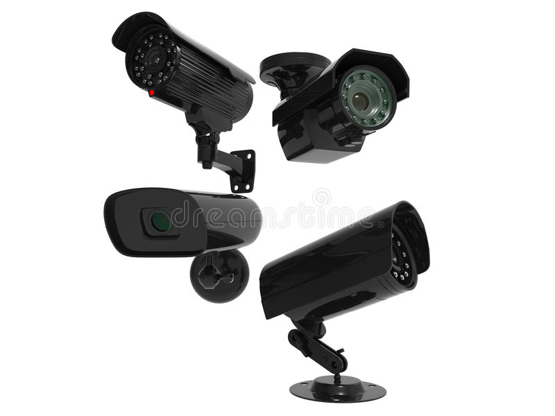 Security cameras - covering all angles. Isolated on white background royalty free stock photography