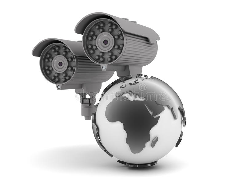 Security cameras and earth globe. On white background stock illustration