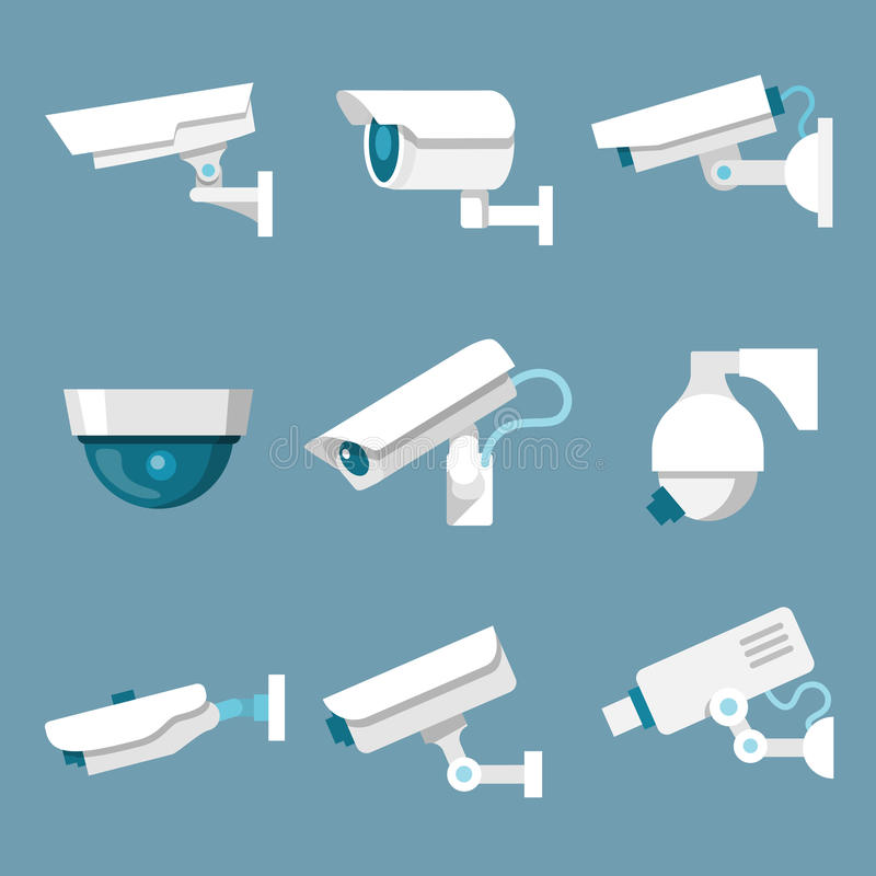 Security cameras icons set royalty free illustration