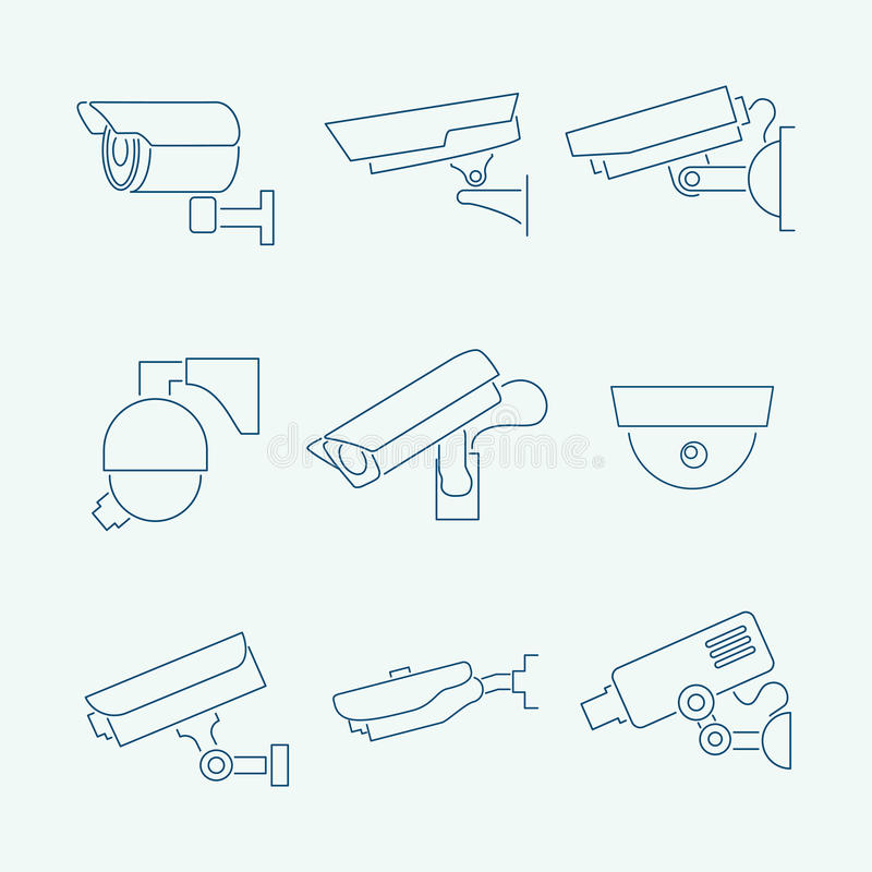 Download Security cameras icons set stock vector. Illustration of danger - 39503274