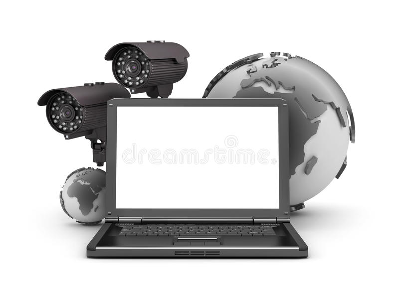 Security cameras, laptop and earth globe. On white background stock illustration