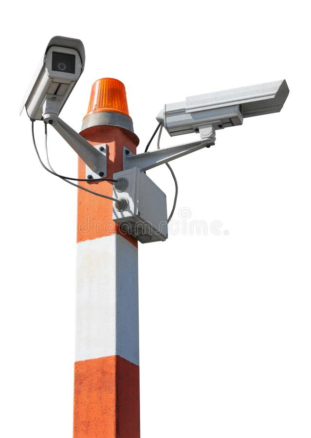 Security cameras on pillar with flashing light royalty free stock photography