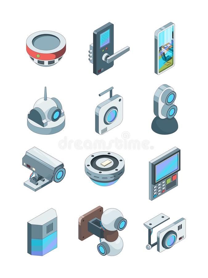 Security cameras. Smart wireless alarm home secure cctv device surveillance vector isometric pictures isolated. Smart system and security camera for monitorin vector illustration
