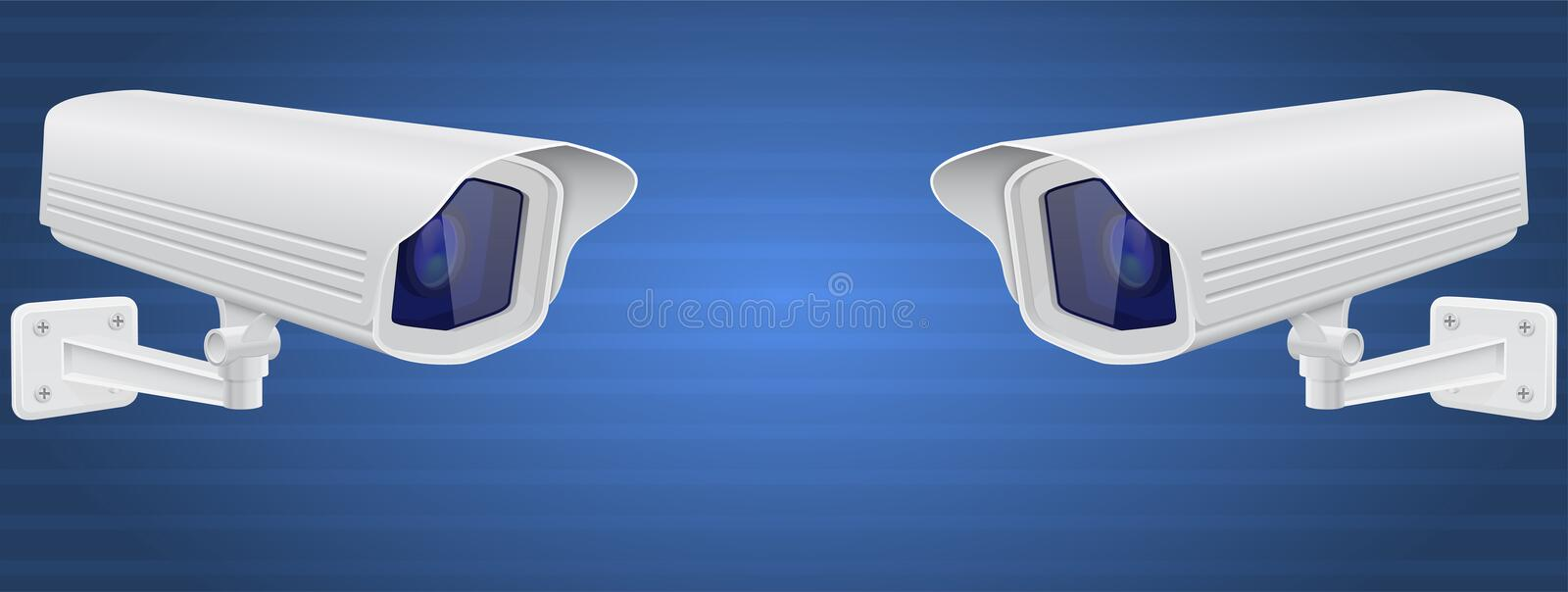 Security cameras. White CCTV surveillance system on blue background. Vector 3d illustration stock illustration