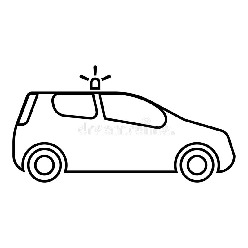 Security car Police car Car with siren icon black color outline vector illustration flat style image. Security car Police car Car with siren icon black color royalty free illustration