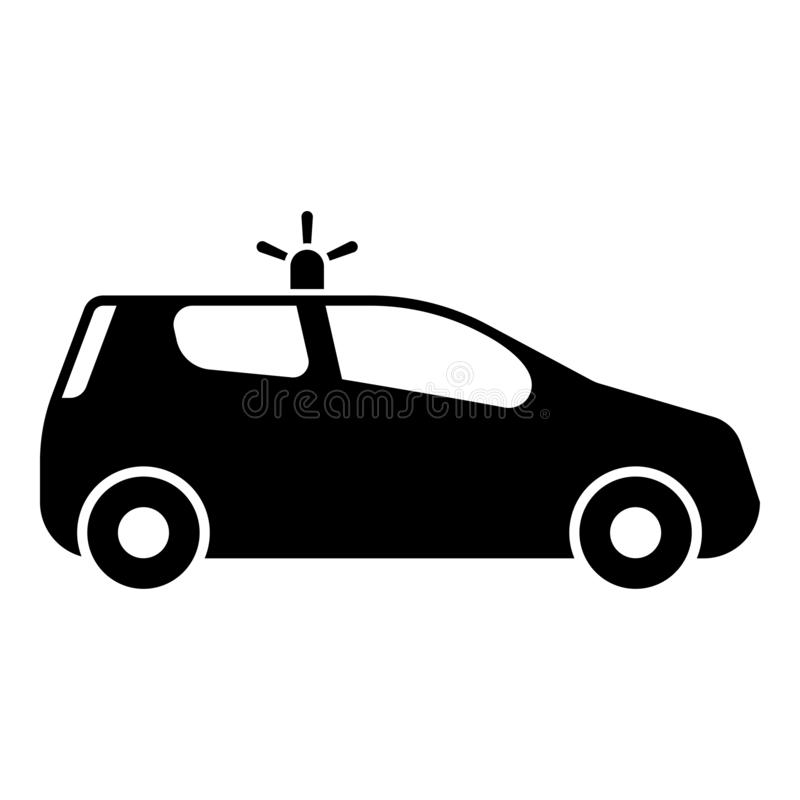 Security car Police car Car with siren icon black color vector illustration flat style image. Security car Police car Car with siren icon black color vector royalty free illustration