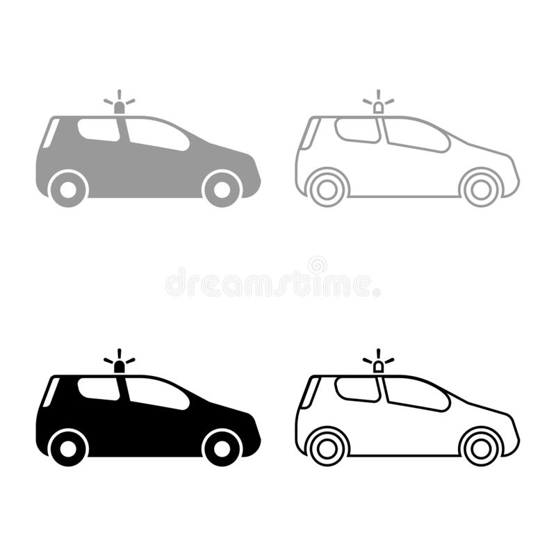 Security car Police car Car with siren icon set black color vector illustration flat style image. Security car Police car Car with siren icon set black color royalty free illustration