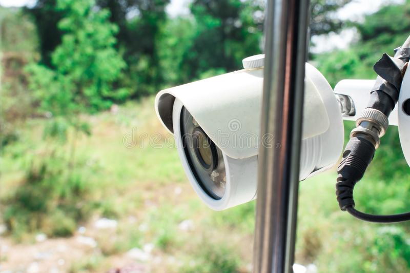 Security CCTV camera in home stock photo