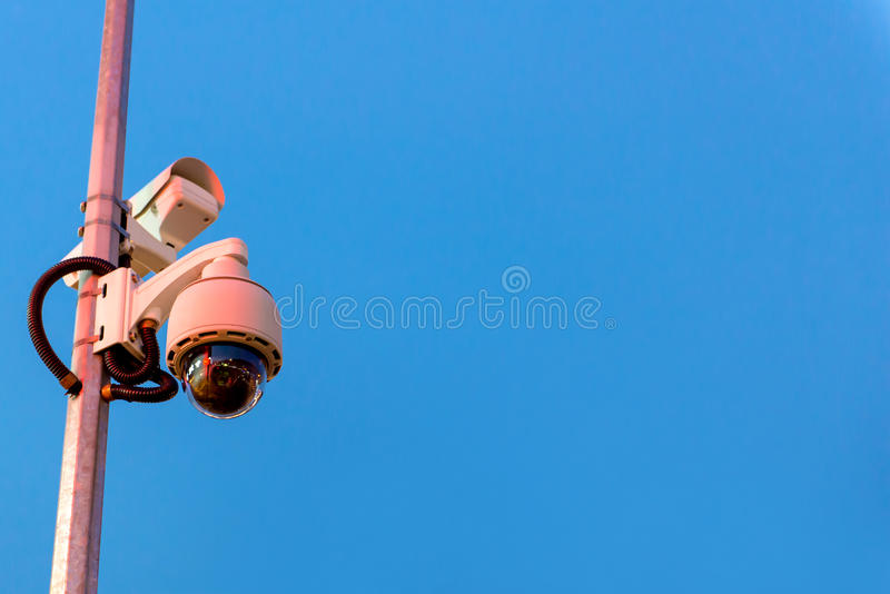 Security CCTV camera and urban video in twilight time.  stock images