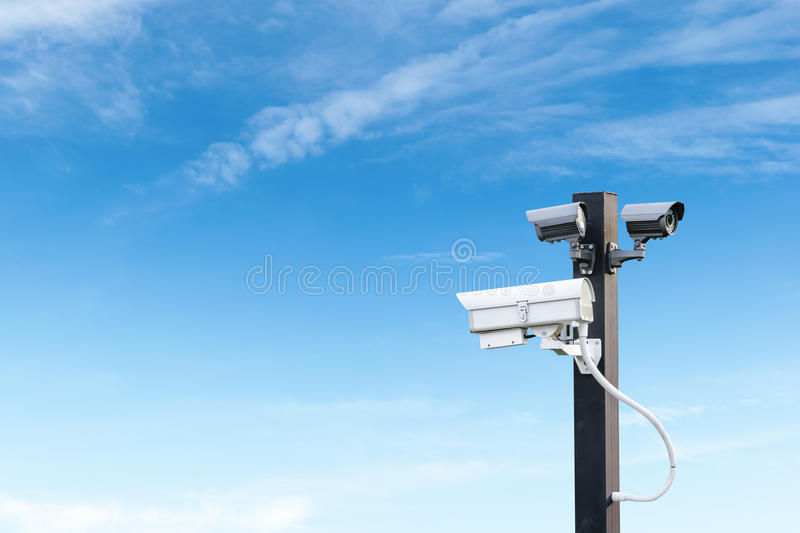 Security cctv surveillance camera with copy space royalty free stock photo