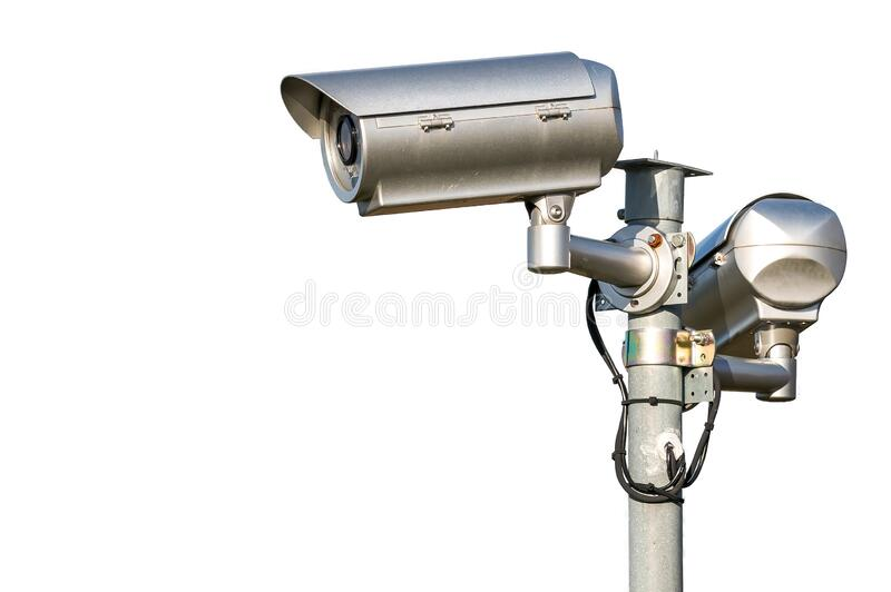 Security CCTV video camera. Isolated on white background. stock images