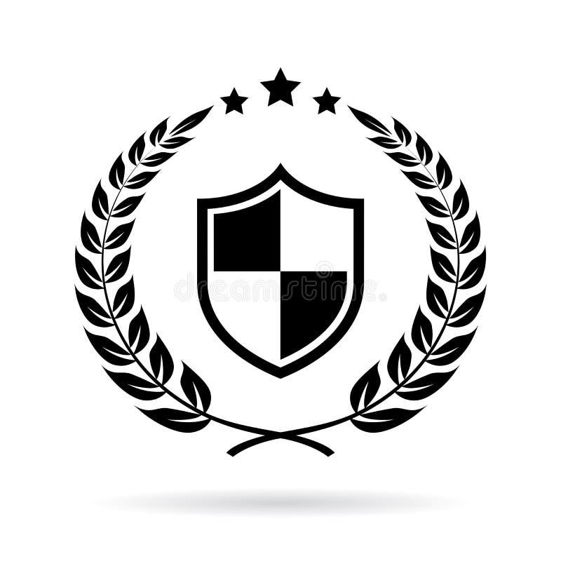 Security certificate laurel vector emblem royalty free illustration