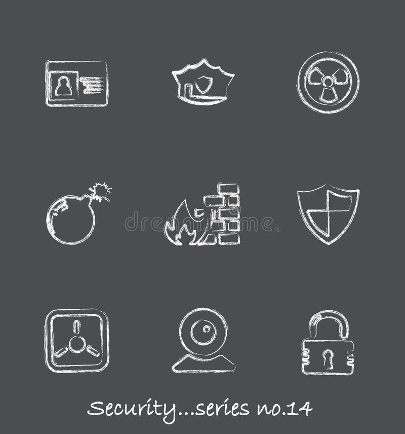 Security chalkboard icons...series no.14 stock illustration