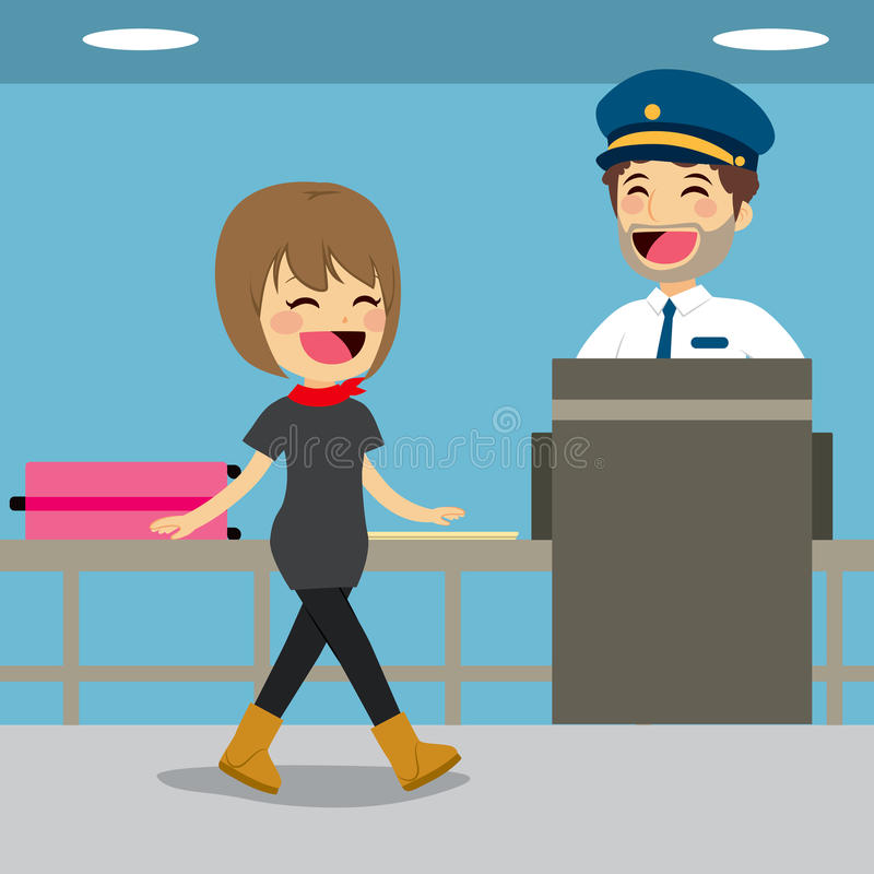 Security Check Control. Girl on security check control while policeman is inspecting baggage with x-ray machine royalty free illustration