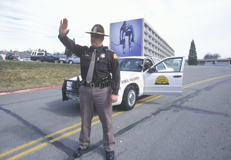Security checkpoint. At Salt Lake City, Utah, Olympics stock photo