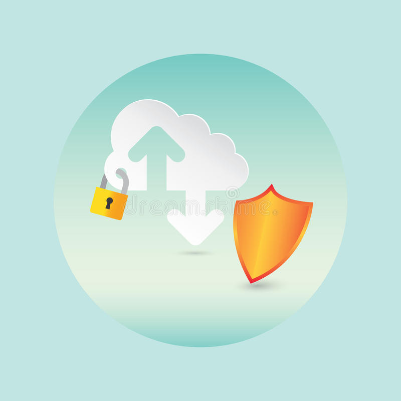 Security and Cloud Technology vector illustration