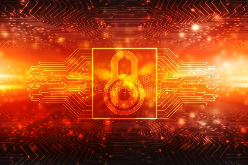 Lock on digital background, Cyber Security and internet Security. Security concept: Closed Padlock on digital background, Cyber Security and internet Security stock illustration