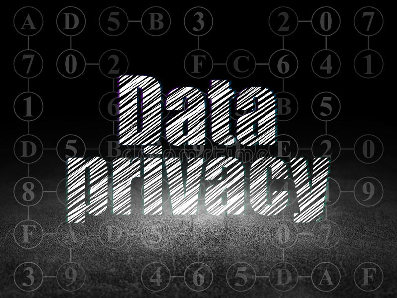 Security concept: Data Privacy in grunge dark room. Security concept: Glowing text Data Privacy in grunge dark room with Dirty Floor, black background with royalty free illustration