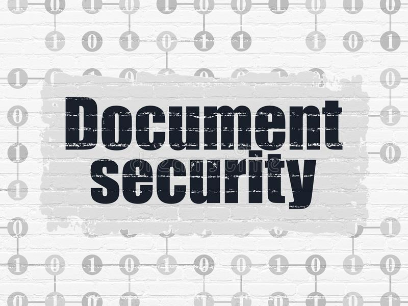 Security concept: Document Security on wall background. Security concept: Painted black text Document Security on White Brick wall background with Scheme Of vector illustration