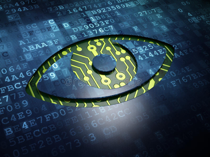 Security concept: Eye on digital screen background stock illustration