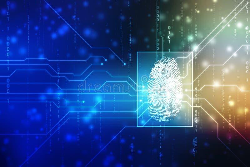 Security concept: fingerprint Scanning on digital screen. cyber security Concept royalty free illustration