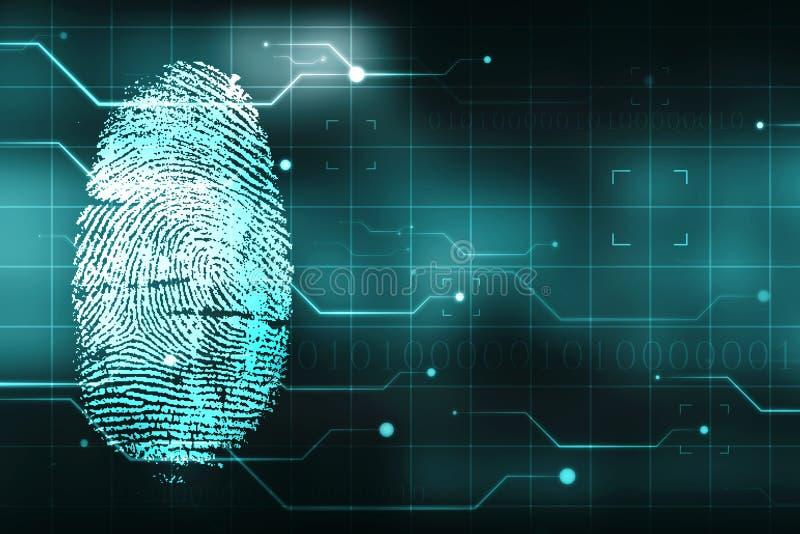 Security Concept, fingerprint Scanning on digital screen. cyber security Concept stock illustration